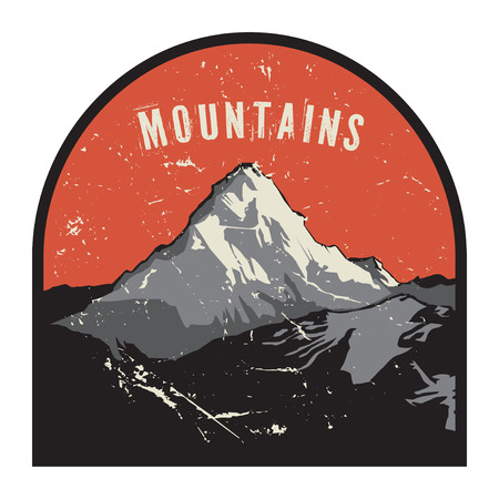 snowy mountains: Mountains badge or emblem. Adventure outdoor, expedition mountain, badge climbing mountain snowy, peak mountain label with text Mountains, vector illustration