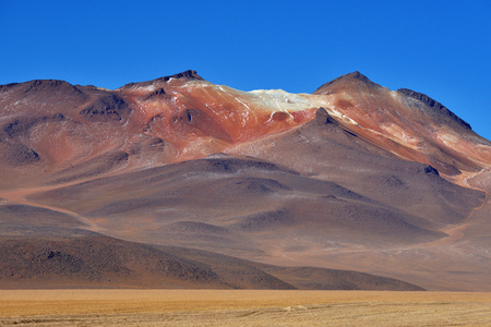 Desert and mountainous landscape in Altiplano - the southern part of Bolivia, South America