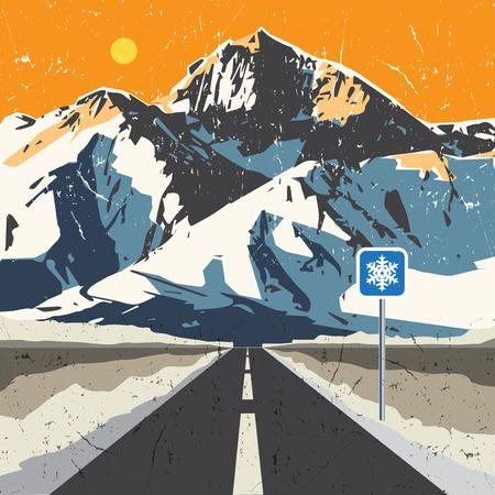 Bergen weg landschap. Avontuur outdoor, expeditie berg, sneeuw, piek berg achtergrond, vector illustratie