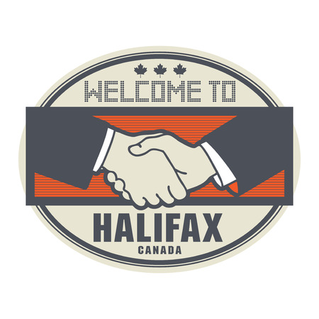 halifax: Stamp or label, business concept with handshake and the text Welcome to Halifax, Canada inside, vector illustration