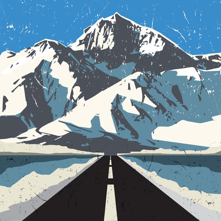 rocky road: Mountains road landscape. Adventure outdoor, expedition mountain, mountain snowy, peak mountain background, vector illustration