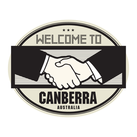 Canberra: Stamp or label, business concept with handshake and the text Welcome to Canberra, Australia inside, vector illustration