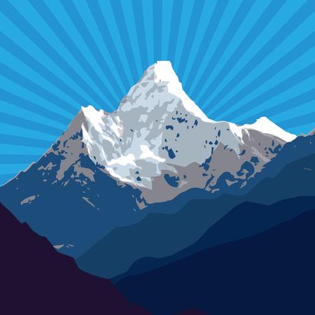 montañas nevadas: Montañas insignia o emblema. Aventura al aire libre, montaña expedición, etiqueta pico de la montaña, ilustración vectorial Vectores