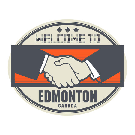 edmonton: Stamp or label, business concept with handshake and the text Welcome to Edmonton, Canada inside, vector illustration