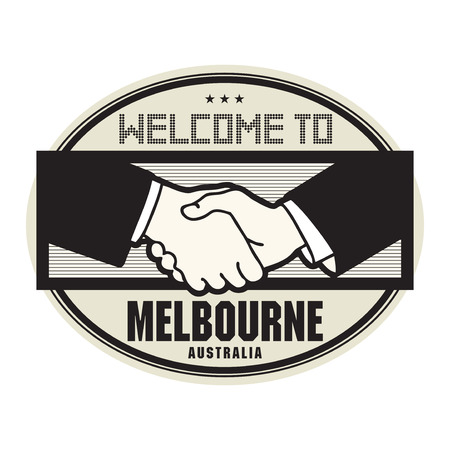 melbourne australia: Stamp or label, business concept with handshake and the text Welcome to Melbourne, Australia inside, vector illustration Illustration