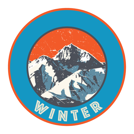 Mountains badge or emblem. Adventure outdoor, expedition mountain, badge climbing mountain snowy, peak mountain label with text Winter, vector illustration