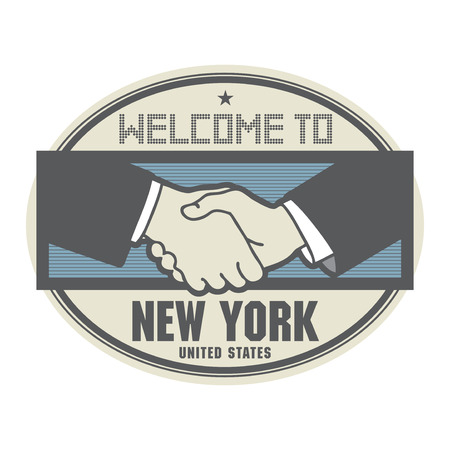 Stamp or label, business concept with handshake and the text Welcome to New York Illustration
