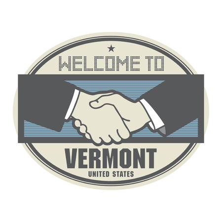 accepted label: Stamp or label, business concept with handshake and the text Welcome to Vermont