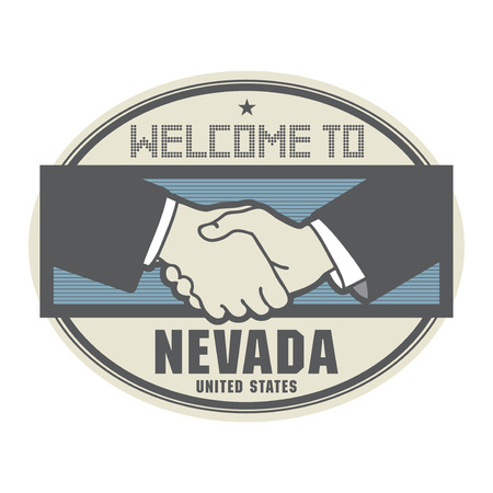 Stamp or label, business concept with handshake and the text Welcome to Nevada, United States of America inside Illustration