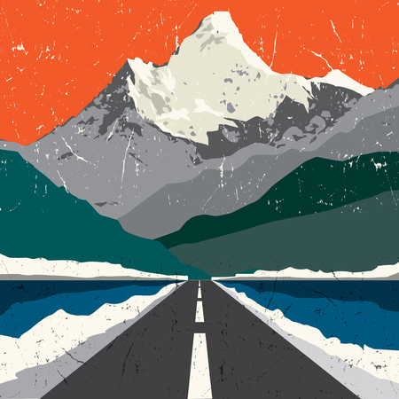 rocky road: Mountains road landscape. Adventure outdoor, expedition mountain, mountain snowy, peak mountain background