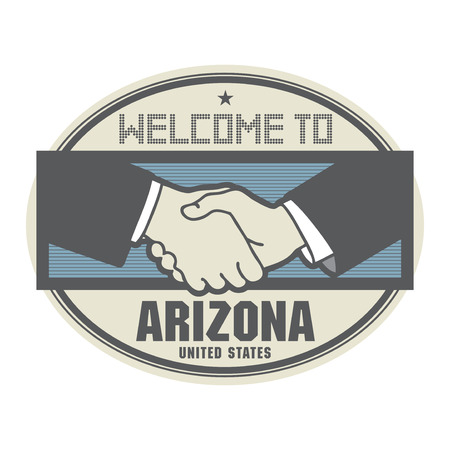 Stamp or label, business concept with handshake and the text Welcome to Arizona, United States of America inside