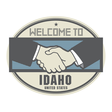 Stamp or label, business concept with handshake and the text Welcome to Idaho, United States of America Illustration