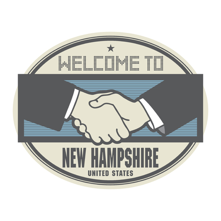 hampshire: Stamp or label, business concept with handshake and the text Welcome to New Hampshire, United States of America