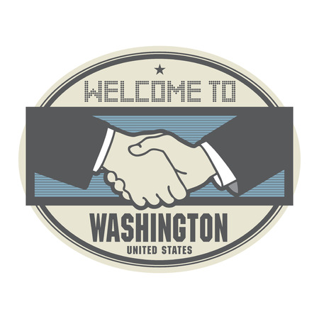 ratified: Stamp or label, business concept with handshake and the text Welcome to Washington, United States of America Illustration