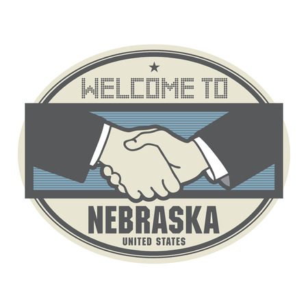 permit: Stamp or label, business concept with handshake and the text Welcome to Nebraska, United States of America