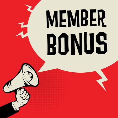 Megaphon Hand, Business-Konzept mit Text Mitglied Bonus