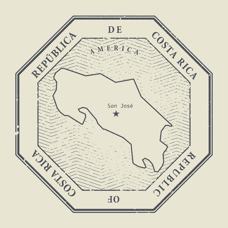 consulate: Stamp with the name and map of Costa Rica, vector illustration