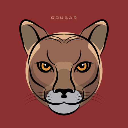 The Cougar, also known as the Puma face sign or symbol, vector illustration Illustration