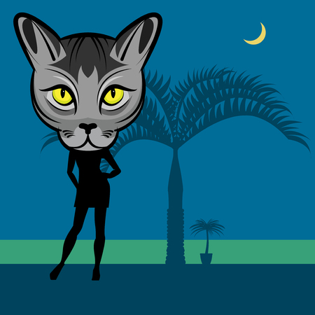 sexy brunette woman: Fashion cat woman abstract background, vector illustration