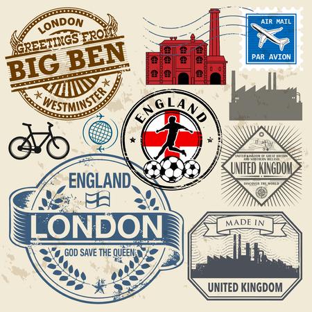 Travel stamps or symbols set, England and United Kingdom theme, vector illustration
