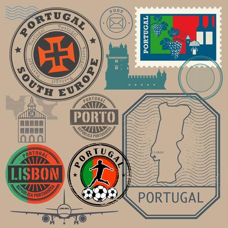 Travel stamps or symbols set, Portugal theme, vector illustration