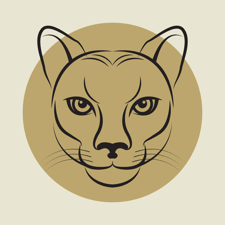 puma: The Cougar, also known as the Puma face sign or symbol, vector illustration Illustration