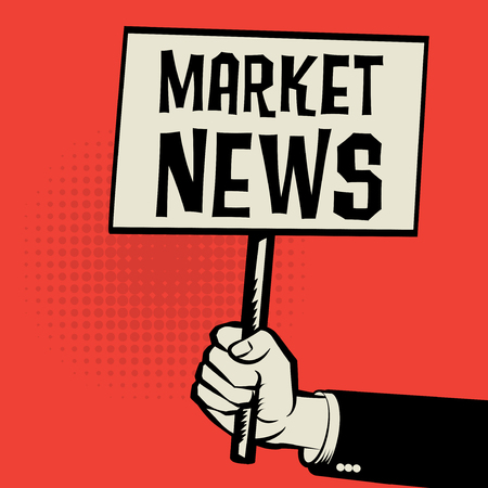 business news: Poster in hand, business concept with text Market News, vector illustration