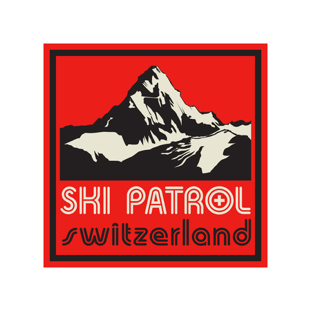 rescue: Mountains landscape. Adventure outdoor, expedition mountain, mountain snowy, peak mountain sign or symbol with text Ski Patrol, Switzerland, vector illustration Illustration