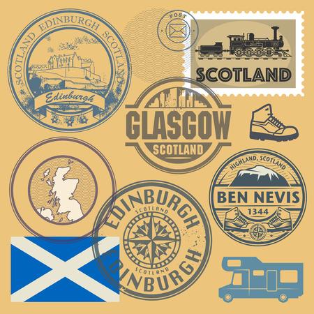 Timbres de voyage ou ensemble de symboles, thème de l'Écosse, illustration vectorielle