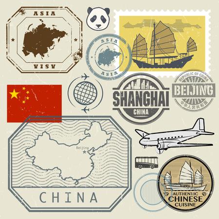 mapa de china: sellos del recorrido fijados con el texto Chine, Shanghai, Beijing (en el idioma chino también) y la correspondencia de China, ilustración vectorial