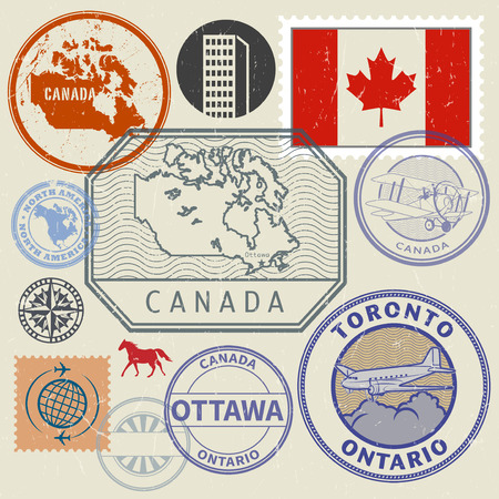 Grunge rubber stamp and signs set with the name and map of Canada, North America, vector illustration 向量圖像