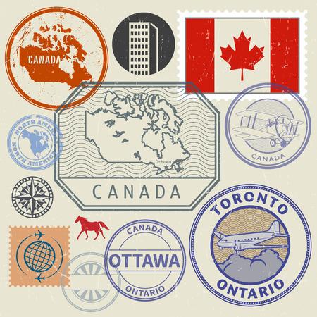 Grunge rubber stempel en tekens ingesteld met de naam en kaart van Canada, Noord-Amerika, vector illustratie Stock Illustratie
