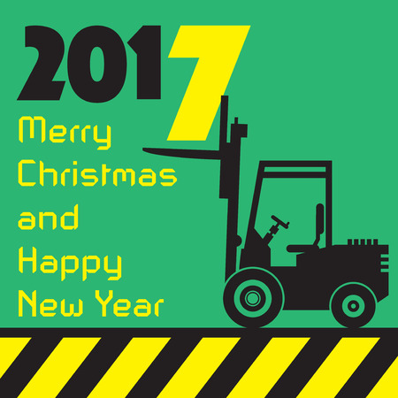 fork lifts trucks: Happy New Year greeting card - fork lift truck at work, vector illustration Illustration