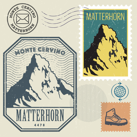 alpinism: Post stamp set with the Matterhorn, mountain of the Alps, Adventure outdoor, Expedition mountain, vector illustration Illustration