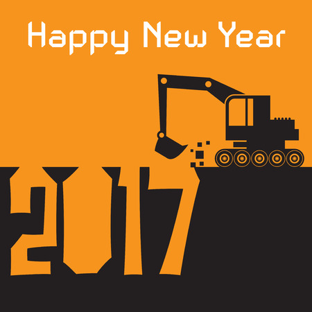 Happy New Year greeting card - Excavator digger at work, vector illustration Illustration