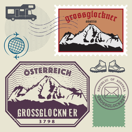 post stamp: Post stamp set with the Grossglockner, highest mountain in Austria and the highest mountain in the Alps east. Adventure outdoor, Expedition mountain, vector illustration