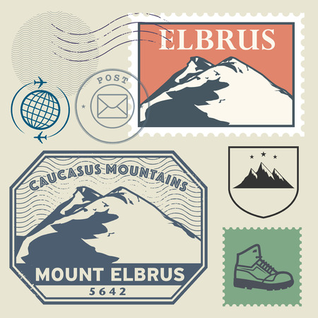 elbrus: Post stamp set with the Mount Elbrus, highest mountain in Russia and in Europe, Adventure outdoor, Expedition mountain, vector illustration