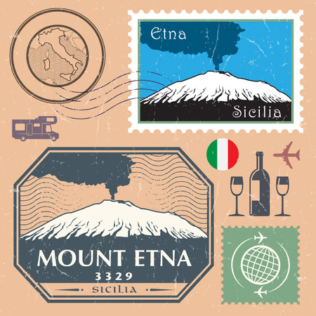 Post stamp set with the Mount Etna, active stratovolcano on the east coast of Sicily, Italy. Adventure outdoor, Expedition mountain, vector illustration Illustration