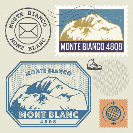 blanc: Post stamp set with the Mont Blanc (Monte Bianco), highest mountain in the Alps, Adventure outdoor, Expedition mountain, vector illustration