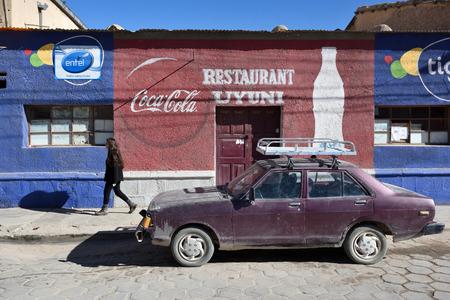 bolivian: UYUNI, BOLIVIA - AUGUST 28, 2016: street of Uyuni, Bolivia on August 28, 2016. Uyuni is a city in the southwest of Bolivia, South America.