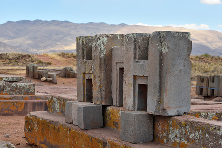 chiseled: Ruins of Pumapunku or Puma Punku, part of a large temple complex or monument group that is part of the Tiwanaku Site near Tiwanaku, Bolivia