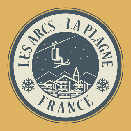 arcs: Abstract stamp or emblem with the name of town Les Arcs - La Plagne in France, ski resort, vector illustration