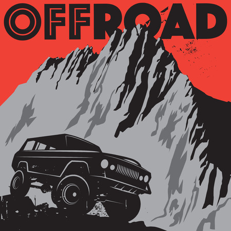 off road: Classic off-road suv car sign or symbol, vector illustration