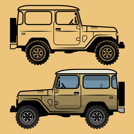 4x4: Classic off-road suv car, vector illustration Illustration