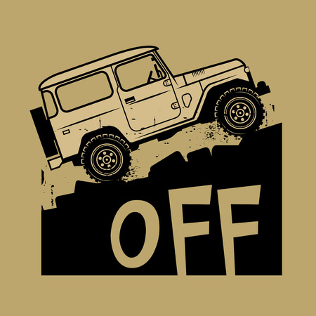 4x4: Classic off-road suv car sign or symbol, vector illustration