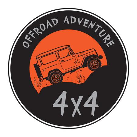 offroad car: Classic off-road car stamp label sign or symbol, vector illustration