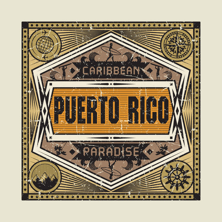 Stamp, badge or vintage emblem with text Puerto Rico, Caribbean Paradise, vector illustration