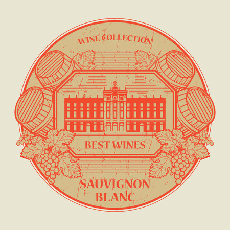 sauvignon: Red grunge rubber stamp or label with the text Best wines collection, Sauvignon Blanc, written inside, vector illustration Illustration