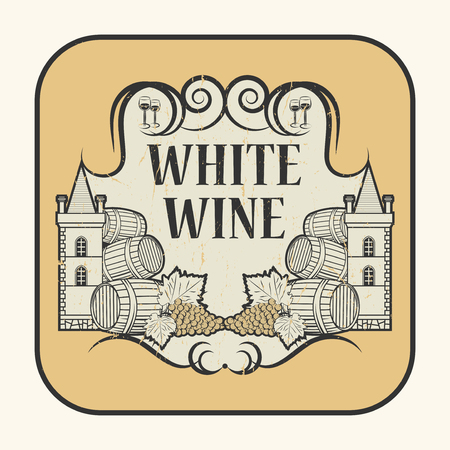 sauvignon: Tag or label with the text White Wine, written inside, vector illustration