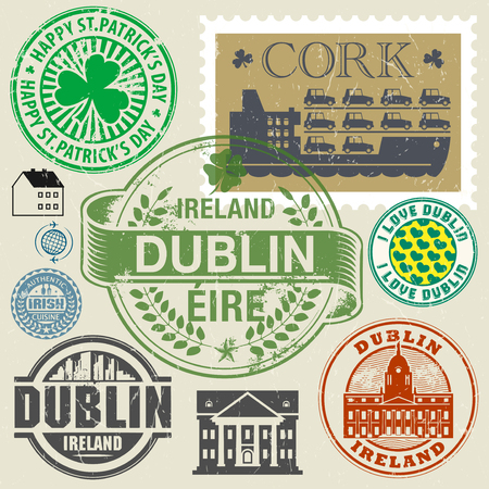 the irish image collection: Travel stamps or symbols set, Ireland, Dublin theme, vector illustration